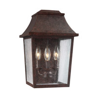 Feiss Estes 3 Light Outdoor Wall Lantern in Patina Copper with Clear Seeded Glass OL11901PCR