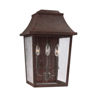 Feiss Estes 3 Light Outdoor Wall Lantern in Patina Copper with Clear Seeded Glass OL11902PCR