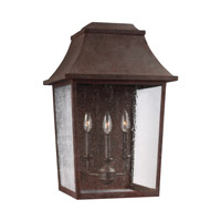 Feiss Estes 3 Light Outdoor Wall Lantern in Patina Copper with Clear Seeded Glass OL11903PCR