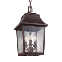 Feiss Estes 3 Light Outdoor Pendant in Patina Copper with Clear Seeded Glass OL11907PCR
