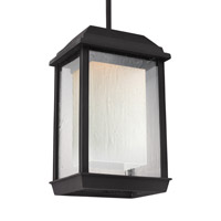 Feiss McHenry LED Outdoor Pendant in Textured Black with Etched and Clear Seeded Glass OL12809TXB-LED