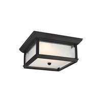 Feiss McHenry LED Outdoor Flush Mount in Textured Black with Etched and Clear Seeded Glass OL12813TXB-LED