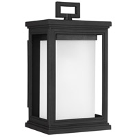 Roscoe 1 Light 12 inch Textured Black Outdoor Wall Lantern, White Opal Glass