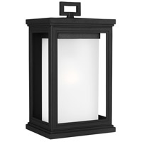 Roscoe 1 Light 14 inch Textured Black Outdoor Wall Lantern, White Opal Glass