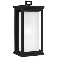 Roscoe 1 Light 18 inch Textured Black Outdoor Wall Lantern, White Opal Glass