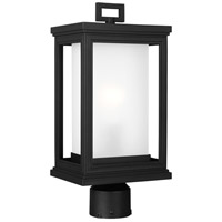 Roscoe 1 Light 17 inch Textured Black Outdoor Post Lantern, White Opal Glass