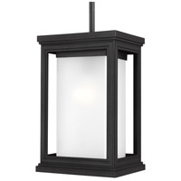Roscoe 1 Light 8 inch Textured Black Outdoor Pendant, White Opal Glass