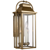 Feiss OL13200PDB Wellsworth 3 Light 18 inch Painted Distressed Brass Outdoor Wall Lantern