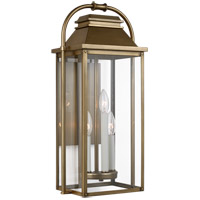 Feiss OL13201PDB Wellsworth 3 Light 23 inch Painted Distressed Brass Outdoor Wall Lantern