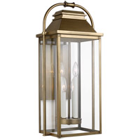 Feiss OL13202PDB Wellsworth 4 Light 27 inch Painted Distressed Brass Outdoor Wall Lantern
