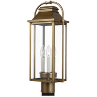 Feiss OL13207PDB Wellsworth 3 Light 21 inch Painted Distressed Brass Post Lantern