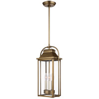 Feiss OL13209PDB Wellsworth 3 Light 9 inch Painted Distressed Brass Outdoor Pendant Lantern