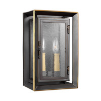 Urbandale 2 Light 13 inch Antique Bronze and Painted Burnished Brass Outdoor Wall Lantern