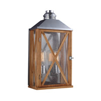 Feiss Lumiere 2 Light Outdoor Lantern Wall Sconce in Natural Oak and Brushed Aluminum OL17004NO