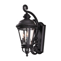 Castle 3 Light 23 inch Black Outdoor Wall Sconce