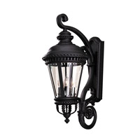 Castle 4 Light 32 inch Black Outdoor Wall Sconce