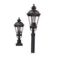 Castle 3 Light 22 inch Black Post Lantern