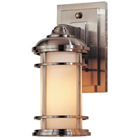 Lighthouse 1 Light 11 inch Brushed Steel Outdoor Wall Lantern in Fluorescent