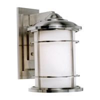 Lighthouse LED 15 inch Brushed Steel Outdoor Wall Lantern in Integrated LED