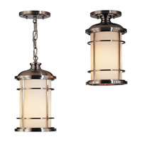Lighthouse 1 Light 7 inch Brushed Steel Outdoor Semi Flush Mount in Standard