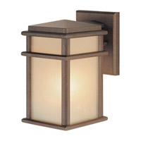 Mission Lodge 1 Light 9 inch Corinthian Bronze Outdoor Wall Sconce in Standard, Amber Ribbed Glass