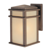Mission Lodge 1 Light 13 inch Corinthian Bronze Outdoor Wall Sconce Amber Ribbed Glass