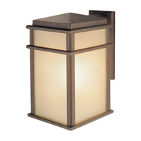 Feiss OL3402CB-LED Mission Lodge LED 15 inch Corinthian Bronze Outdoor Wall Lantern in Integrated LED, Amber Ribbed Glass