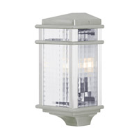 Feiss OL3403BRAL-LED Mission Lodge LED 15 inch Brushed Aluminum Outdoor Wall Lantern in Integrated LED Clear Checked Glass