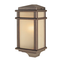 Mission Lodge LED 15 inch Corinthian Bronze Outdoor Wall Lantern in Integrated LED, Amber Ribbed Glass