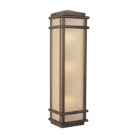 Mission Lodge 3 Light 26 inch Corinthian Bronze Outdoor Wall Sconce Amber Ribbed Glass