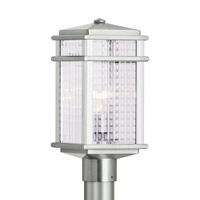 Mission Lodge LED 16 inch Brushed Aluminum Outdoor Post Lantern in Integrated LED, Clear Checked Glass
