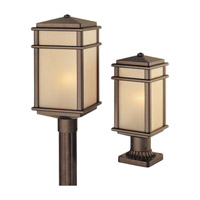 Mission Lodge 1 Light 16 inch Corinthian Bronze Post Lantern in Standard, Amber Ribbed Glass