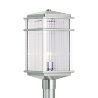 Mission Lodge LED 19 inch Brushed Aluminum Outdoor Post Lantern in Integrated LED, Clear Checked Glass