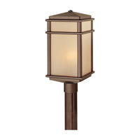 Mission Lodge 1 Light 19 inch Corinthian Bronze Post Lantern in Standard, Amber Ribbed Glass