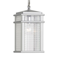 Mission Lodge LED 7 inch Brushed Aluminum Pendant Ceiling Light in Integrated LED, Clear Checked Glass