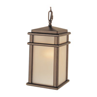 Mission Lodge 1 Light 7 inch Corinthian Bronze Outdoor Hanging Lantern in Standard, Amber Ribbed Glass