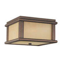 Mission Lodge LED 9 inch Corinthian Bronze Outdoor Flush Mount in Integrated LED, Amber Ribbed Glass