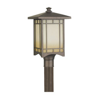 August Moon 1 Light 19 inch Corinthian Bronze Outdoor Post Lantern in Fluorescent