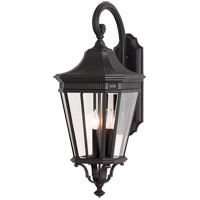 Feiss OL5404BK Cotswold Lane 3 Light 30 inch Black Outdoor Wall Sconce in Standard photo thumbnail