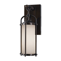 Dakota 1 Light 13 inch Espresso Outdoor Wall Sconce in Standard, Aged Oak Glass