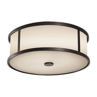 Dakota 3 Light 14 inch Espresso Outdoor Flush Mount in Standard, Aged Oak Glass
