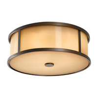 Dakota 3 Light 14 inch Heritage Bronze Outdoor Flush Mount in Standard, Aged Oak Glass