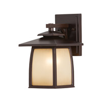 Feiss OL8500SBR Wright House 1 Light 11 inch Sorrel Brown Outdoor Wall Sconce in Standard, Striated Ivory Glass