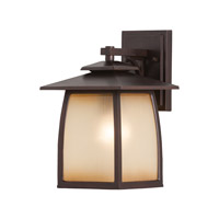 Feiss OL8501SBR Wright House 1 Light 13 inch Sorrel Brown Outdoor Wall Sconce in Standard, Striated Ivory Glass
