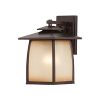 Feiss OL8502SBR Wright House 1 Light 14 inch Sorrel Brown Outdoor Wall Sconce in Standard, Striated Ivory Glass