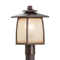 Wright House 1 Light 16 inch Sorrel Brown Post Lantern in Standard, Striated Ivory Glass