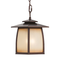 Wright House 1 Light 8 inch Sorrel Brown Outdoor Hanging Lantern in Standard, Striated Ivory Glass