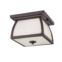 Feiss OL8513ORB Wright House 2 Light 9 inch Oil Rubbed Bronze Outdoor Flush Mount in Standard, Opal Etched Glass