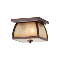Wright House 2 Light 9 inch Sorrel Brown Outdoor Flush Mount in Fluorescent, Striated Ivory Glass