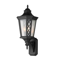 Wembley Park 3 Light 28 inch Textured Black Outdoor Lantern Wall Sconce
